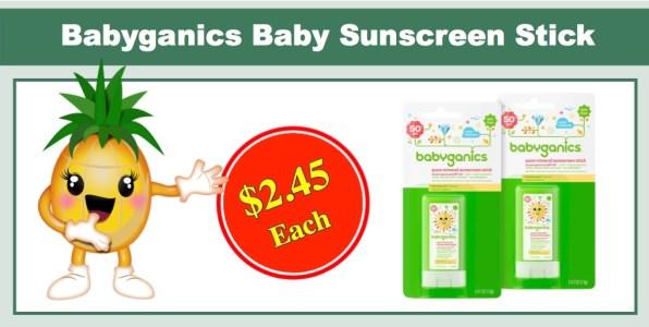 Babyganics Baby Sunscreen Stick, SPF 50, 2 Pk