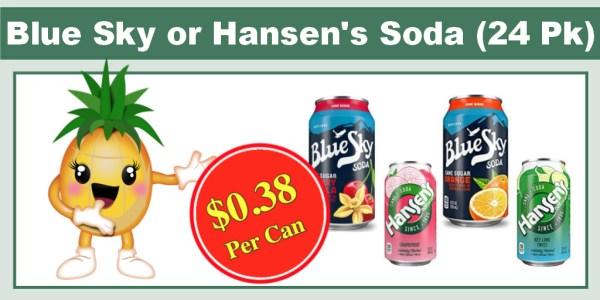 Blue Sky or Hansen's Soda (24 Pack)