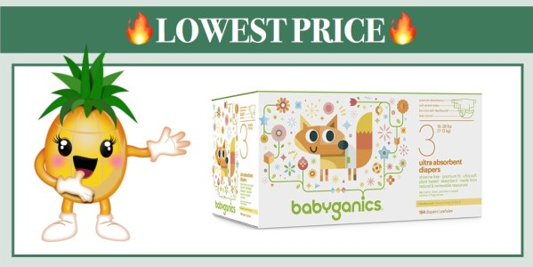 Babyganics Ultra Absorbent Diapers Size 3, 184 Count