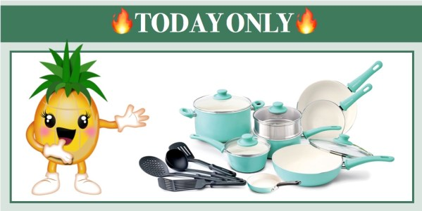 GreenLife Ceramic Non-Stick Cookware Set 16 Pc