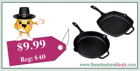 Victoria Cast Iron Deep Grill Pan or Skillet