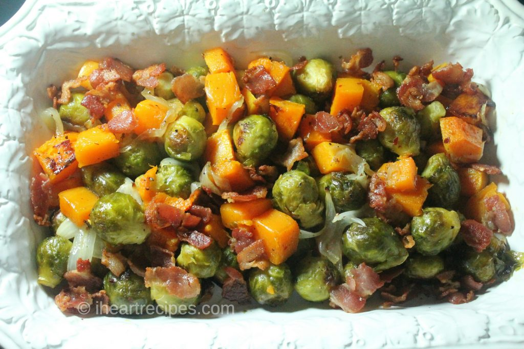 brussel sprouts butternut squash and bacon i heart recipes