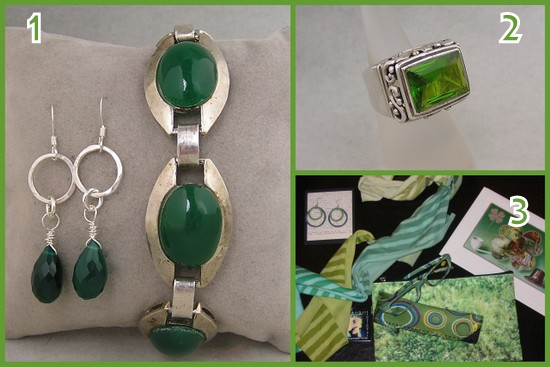 St. Patrick's day green finds from Galatea Boutique and Joint Venture Jewelry