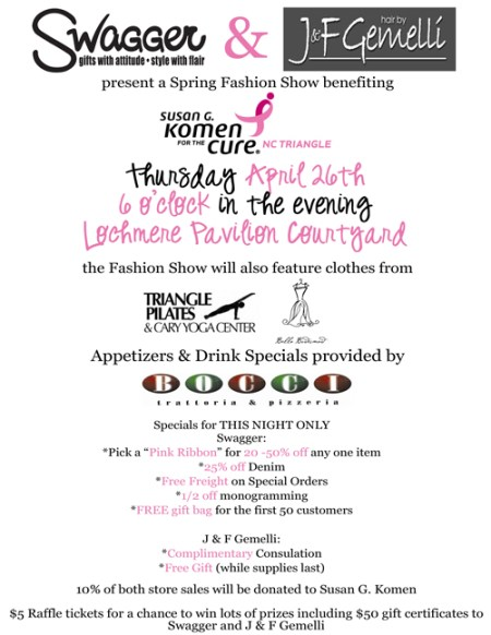 Spring Fashion Show at Swagger Gifts benefiting Komen NC Triangle