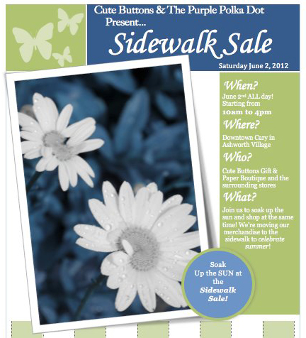 Sidewalk Sale at Cute Buttons Gift and Paper Boutique and The Purple Polka Dot tomorrow