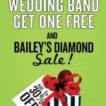 Wedding band and diamond sale at Bailey's