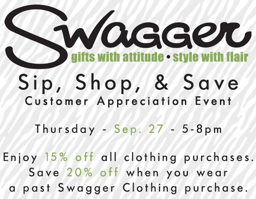 Sip, Shop, and Save at Swagger on Thursday