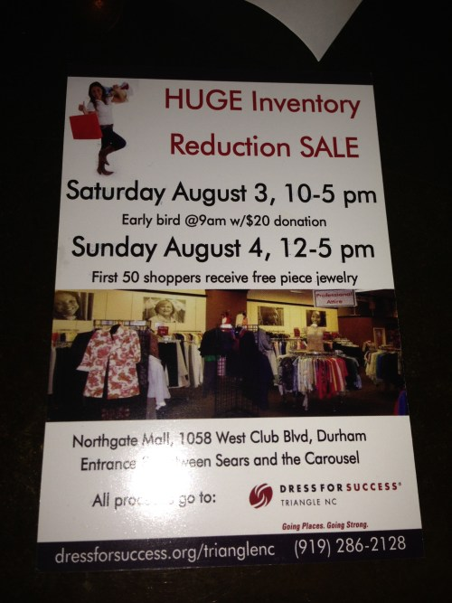 Dress for Success Triangle NC Excess Inventory Sale is Saturday, August 3 and Sunday, August 3