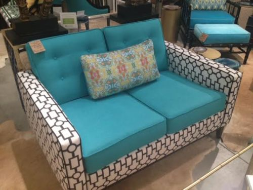 Great teal blue couch at Home Again in Wilmington