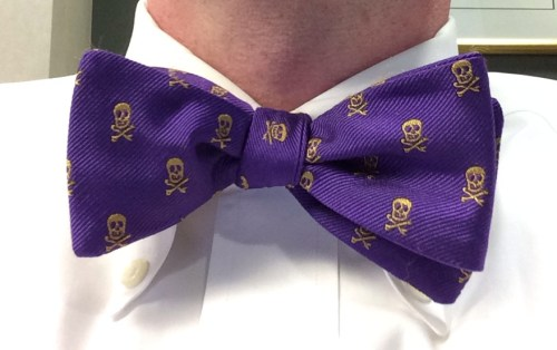 Purple and gold pirates bow tie from Kannon's in Raleigh and Wendell, NC