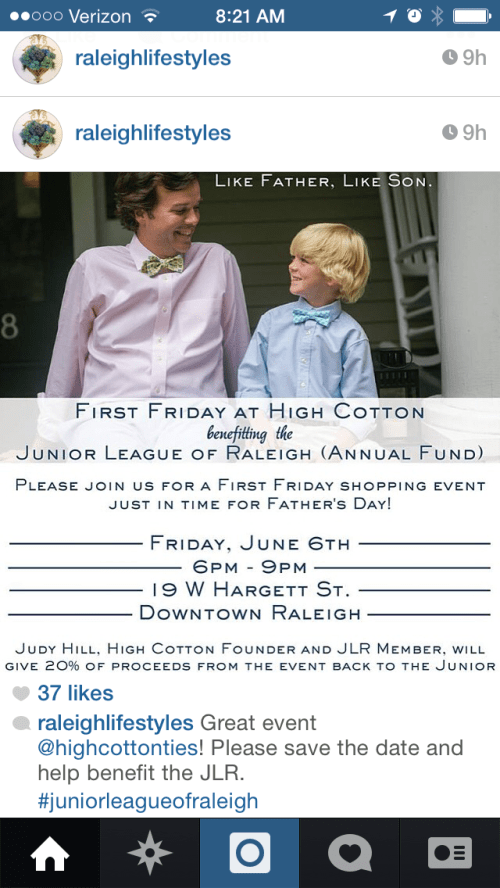 High Cotton First Friday shopping event to benefit Junior League of Raleigh