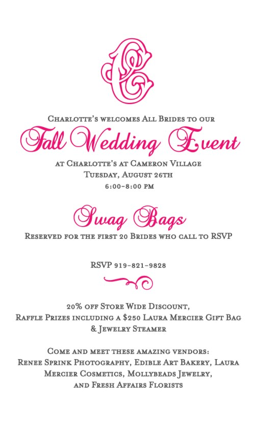 Charltote's Fall Wedding Event