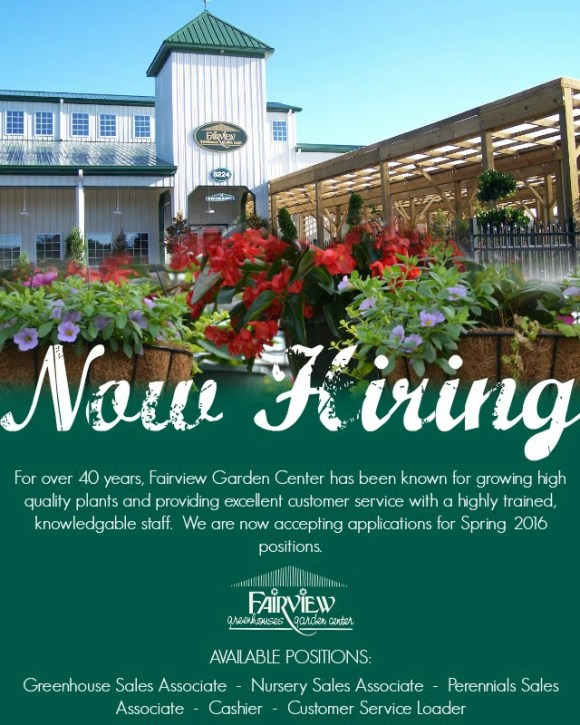 Fairview Garden Center Now Hiring