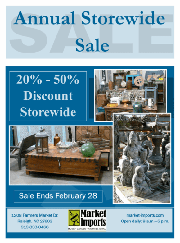 Save 20-50% store-wide at Market Imports through February 28