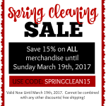 Spring cleaning sale at The Red & White Shop in Raleigh