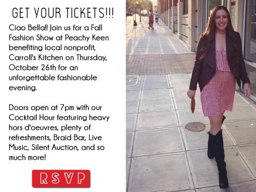 Ciao Peachy Keen Fall Fashion Show benefiting Carroll's Kitchen