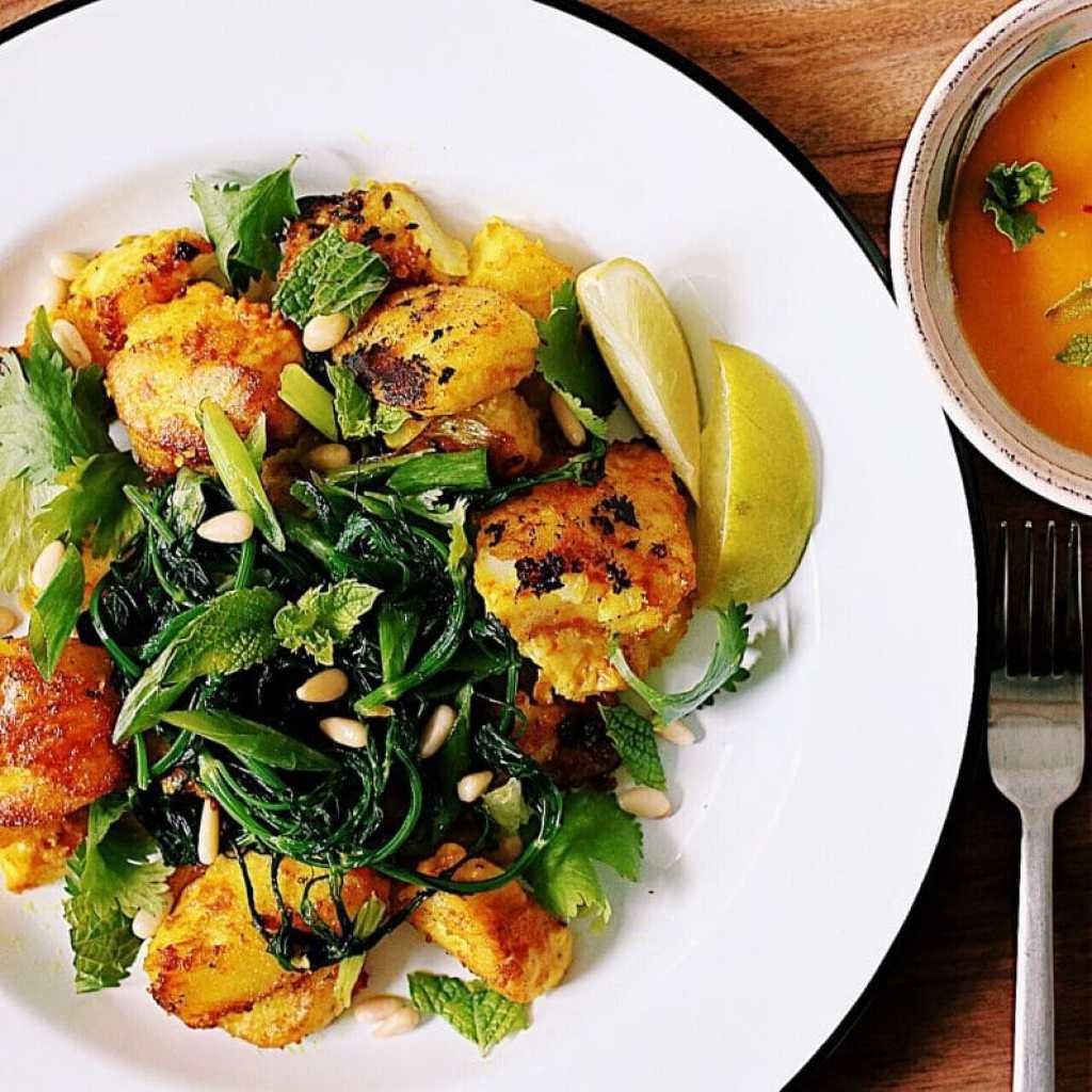 Vietnamese Turmeric Fish with Herbs and Mango Dipping Sauce