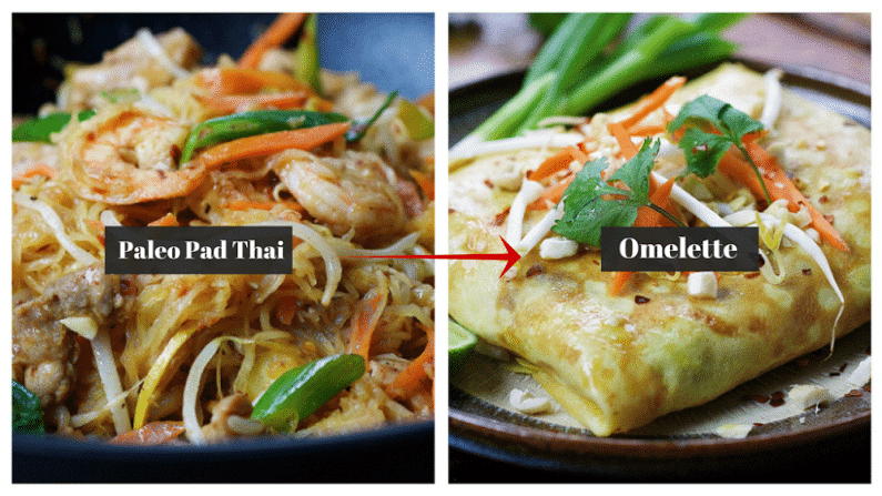 Paleo Pad Thai Noodle Omelette! Stuffed Pad Thai omelette with squash noodles and homemade Pad Thai Sauce ! Paleo Thai recipe. Paleo Asian food.