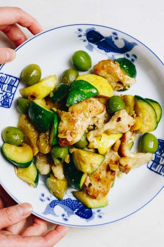 Chicken Zucchini Stir Fry with yellow squash and green olives. Paleo, Whole30, and Keto recipe.