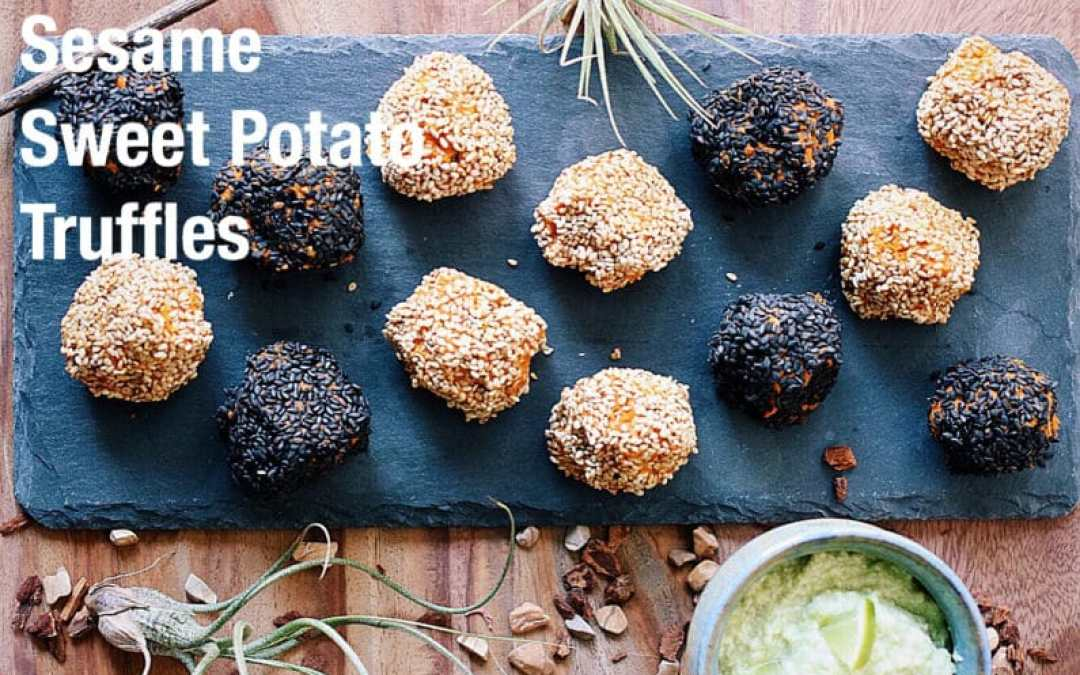 Sesame Sweet Potato Truffles with Creamy Avocado Dipping Sauce