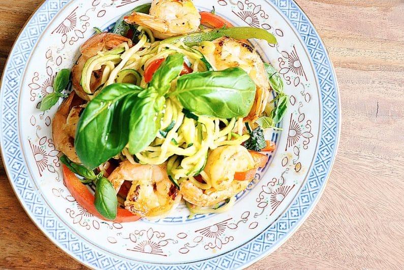 Spicy Shrimp Paleo Spaghetti Noodles