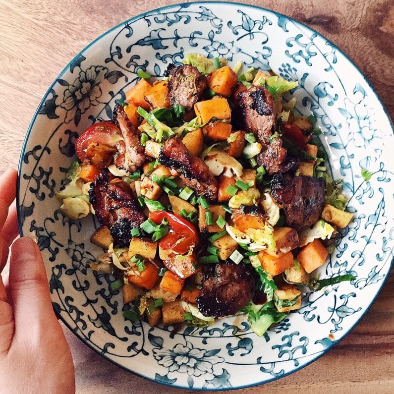 Caramelized Pork Hash With Brussels Sprouts And Sweet Potato