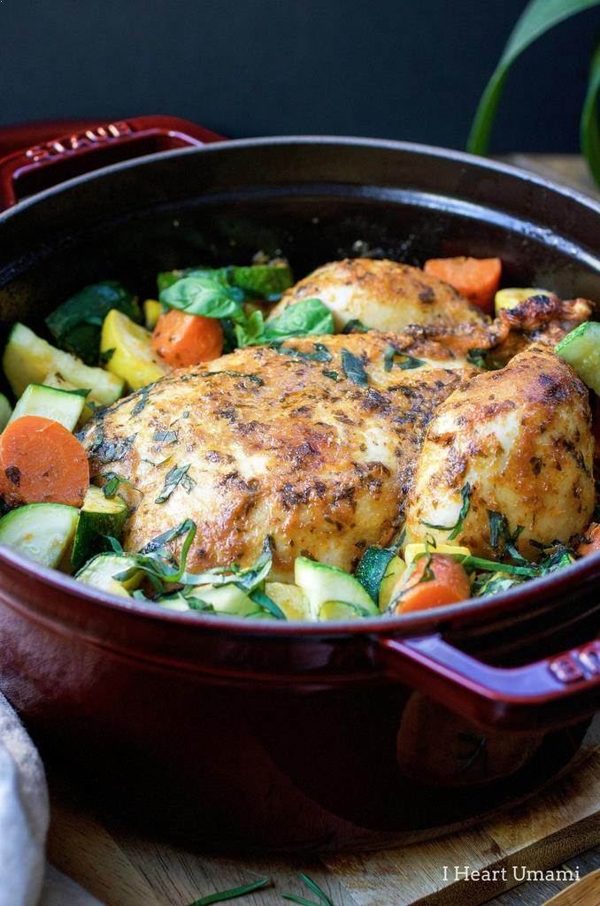 Dutch Oven Roasted Red Curry Whole Chicken recipe that's Paleo, Whole30, and Keto friendly.
