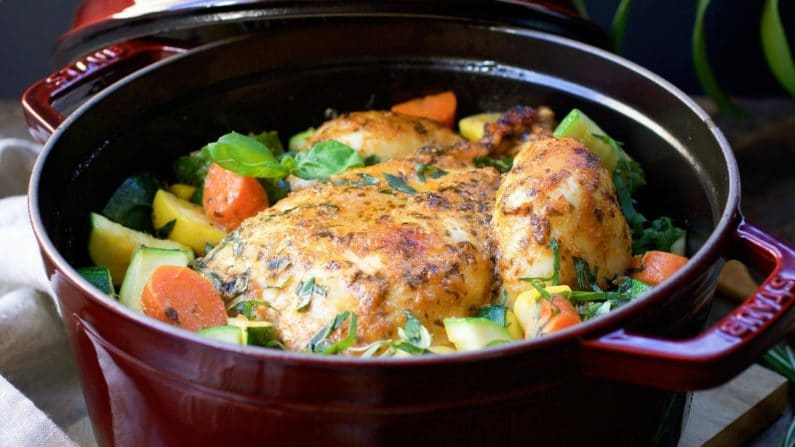 Dutch Oven Roasted Red Curry Whole Chicken