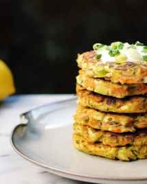 Paleo zucchini carrot fritters with paleo sour cream