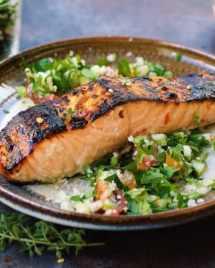 Paleo Thai sweet chili salmon. Paleo tabbouleh. Paleo tabouli. Paleo Thai sweet chili sauce.