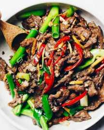 Paleo Mongolian Beef with juicy sizzling hot beef steak s gluten-free, Whole30 and Keto friendly from I Heart Umami.