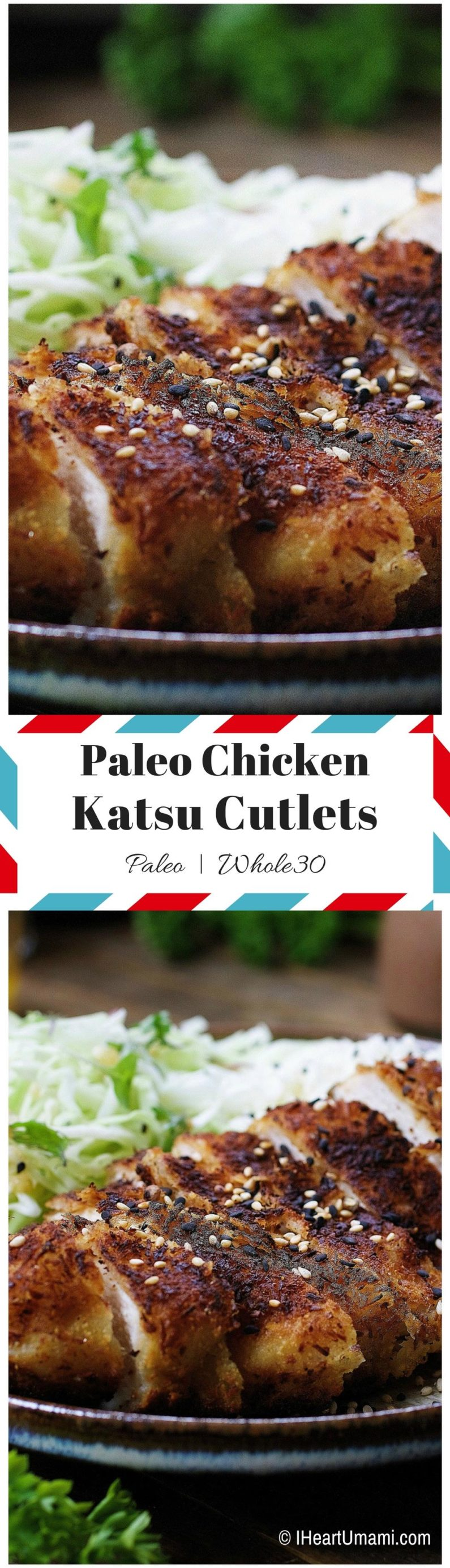 Paleo Chicken Katsu with thin shredded cabbage noodles in light Asian sesame ginger dressing. Paleo & Whole30 friendly Japanese-inspired chicken cutlets for both adults and kids to enjoy !