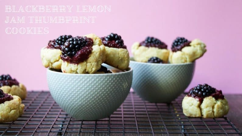 Blackberry Lemon Jam Thumbprint Cookies Recipe with low sugar and no pectin homemade jam for healthy sweets.