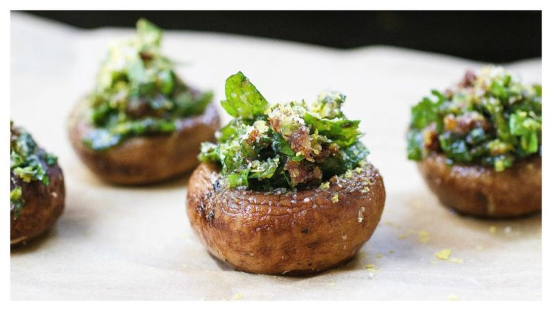 """Easy and """"cheesy"""" Herb Stuffed Mushrooms that are gluten, dairy free and vegan friendly. Perfect make ahead appetizer and side dish recipe."""