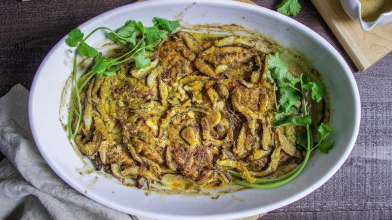 Creamy Chicken Mushroom Casserole recipe for gluten and dairyfree use.
