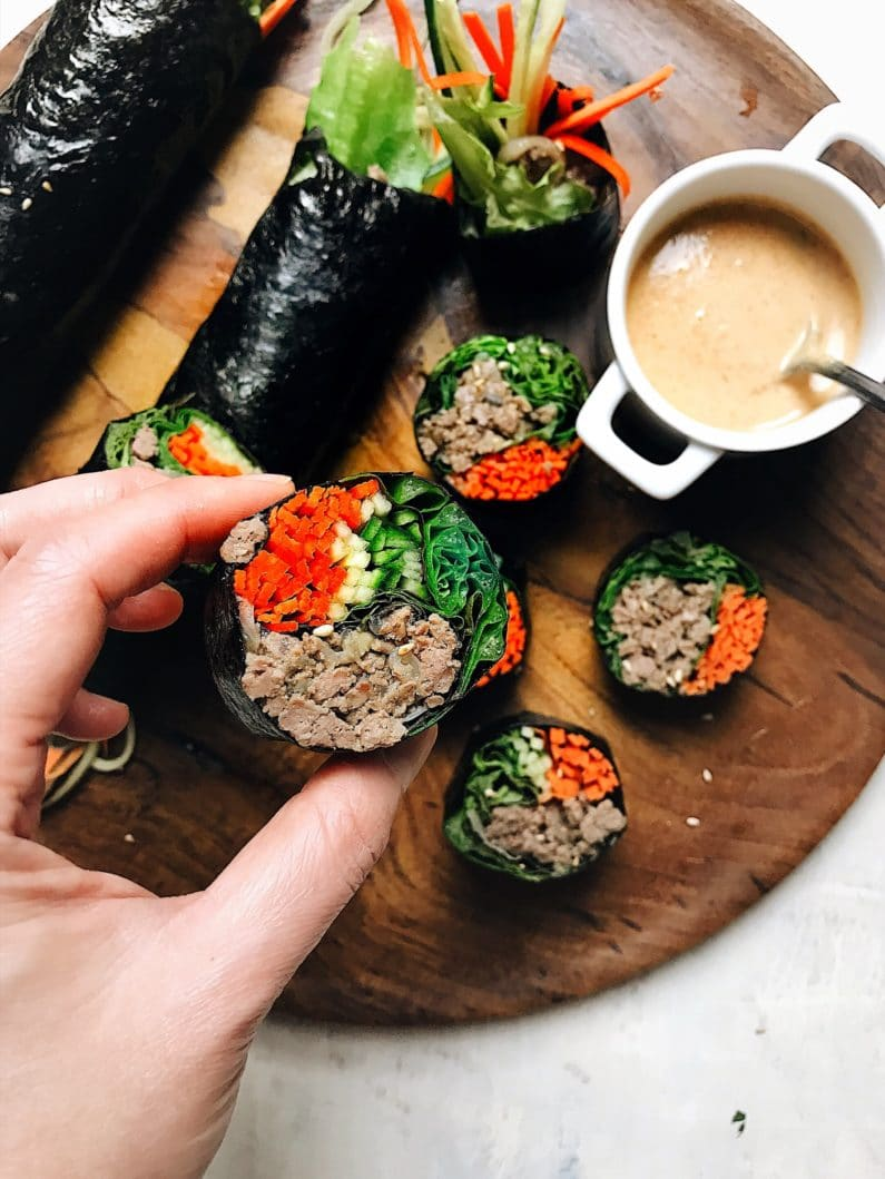 Keto Bulgogi Beef Sushi Rolls recipe without rice is Paleo, Whole30, and low carb.