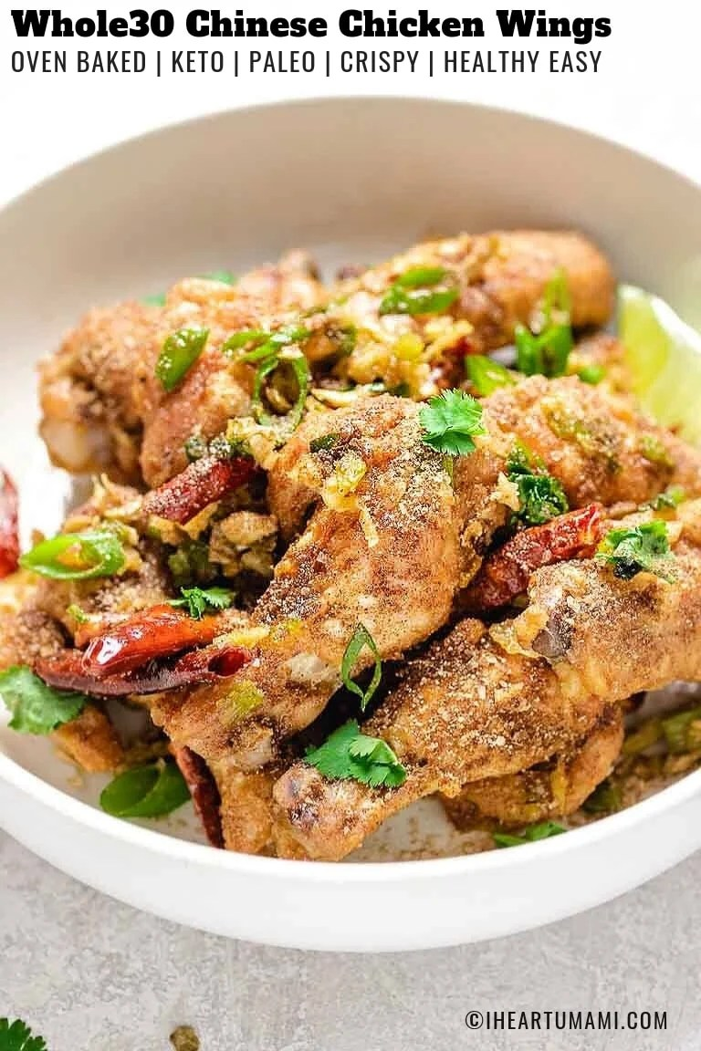 Baked Whole30 Crispy Chinese Chicken Wings recipe are Paleo, Whole30, and Keto friendly with Chinese dry spice rub.