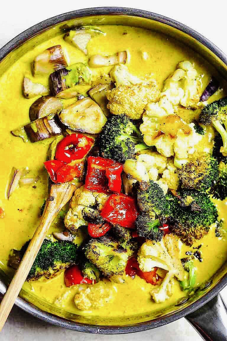 Creamy Whole30 Vegan Vegetarian Curry Recipe with roasted vegetables in dairy-free milk cream.