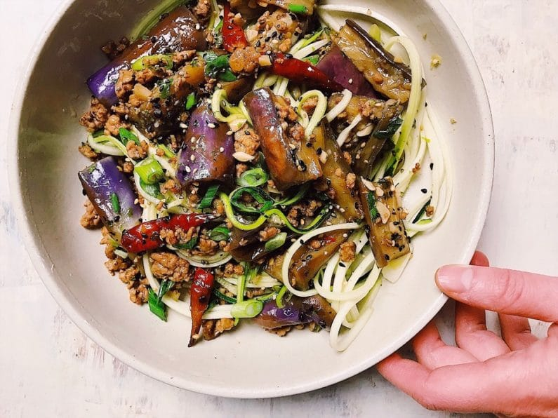 Paleo Chinese eggplant recipe in garlic sauce with minced meat is healthy, low carb, gluten-free, and Whole30 from I Heart Umami.