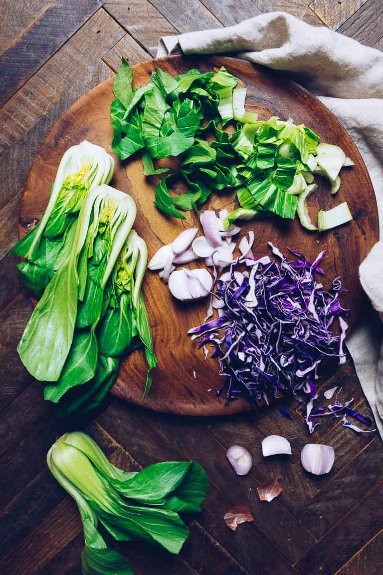 Paleo Thai bok choy salad recipe with zesty Whole30 Thai salad dressing.