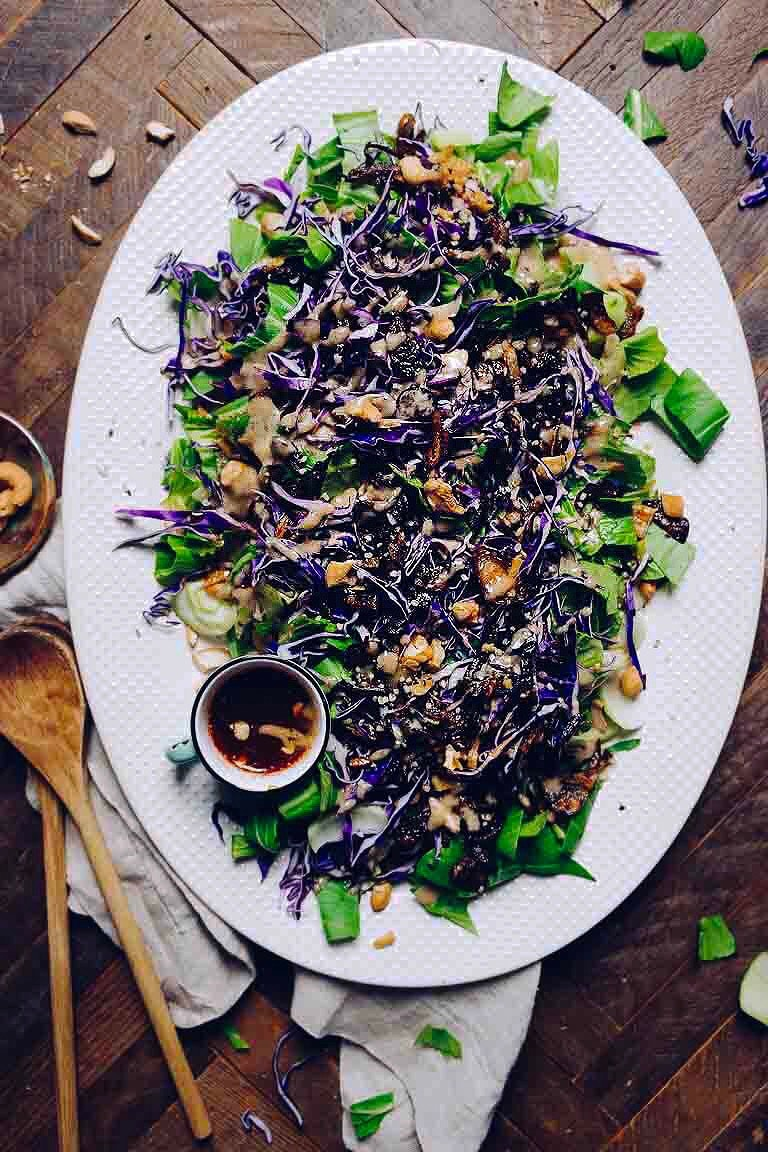 Paleo Thai bok choy salad recipe with zesty Whole30 Thai salad dressing.