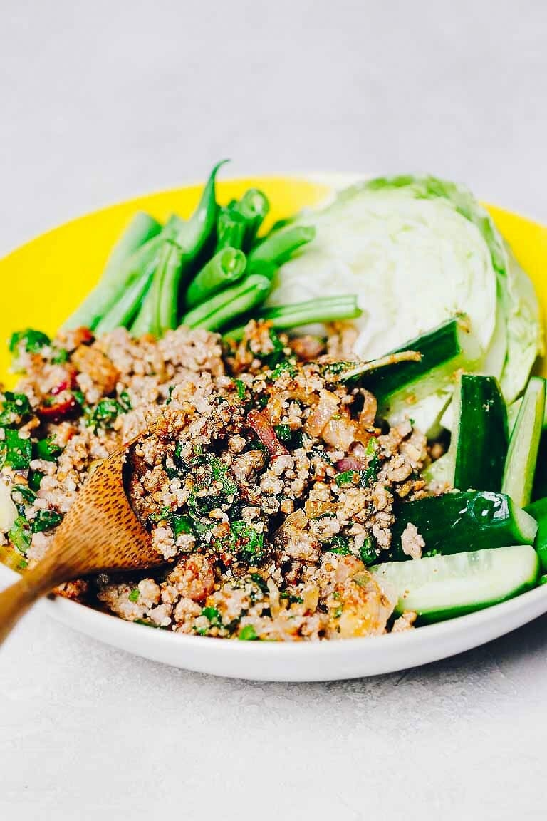 The most authentic Thai Larb Recipe (Larb Moo) that's Paleo, Whole30, and Keto low carb friendly.