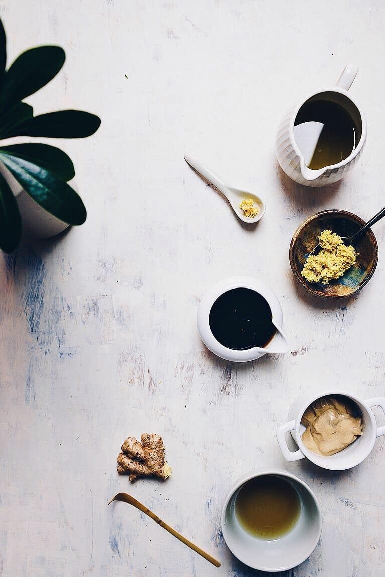 Creamy and tart Paleo Creamy Ginger Salad Dressing recipe is Paleo, Whole30, Keto, and Vegan from I Heart Umami.