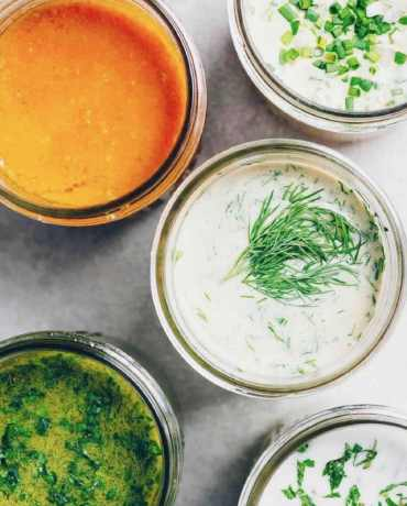 Whole30 Salad Dressing Recipes from carrot ginger, to sweet basil, creamy caper-dill, and more!