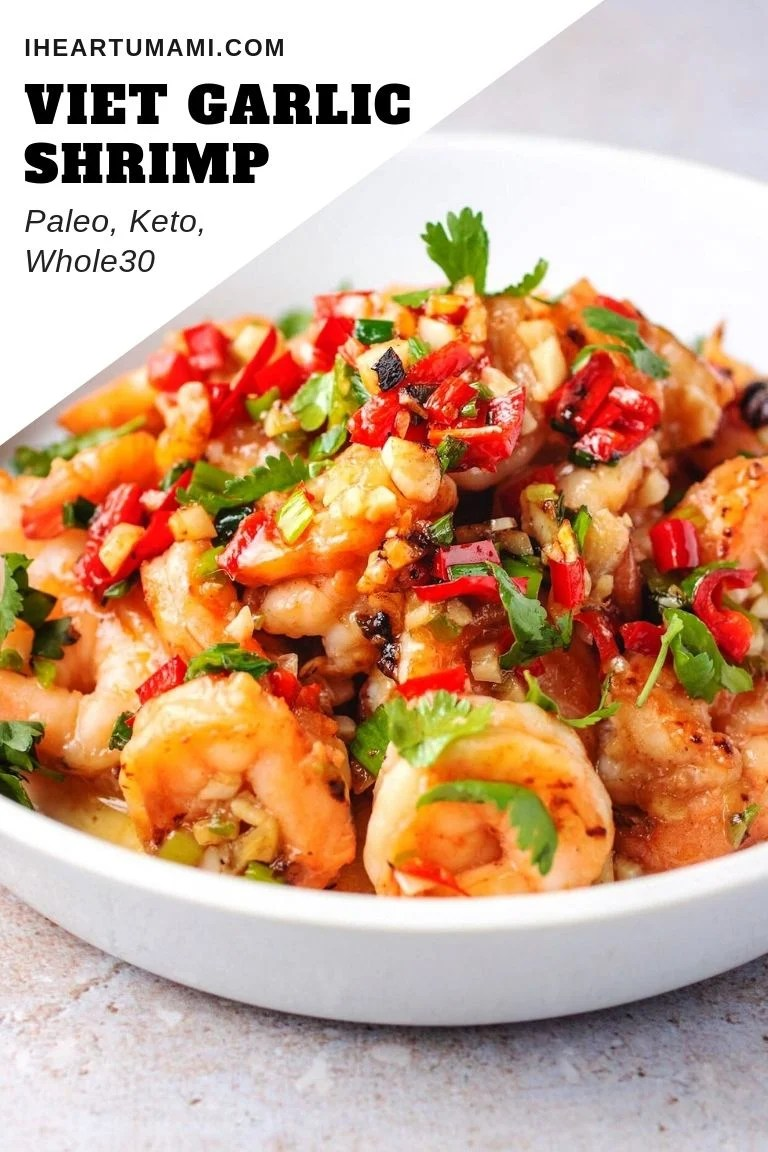 Easy Garlic Shrimp Vietnamese Style with Spicy Garlic Sauce.