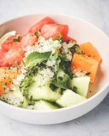 Watermelon Fruit Salad recipe with crushed mint-lime flavored ice for the best summer watermelon mint salad!