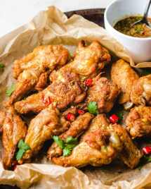 Thai Air Fryer Chicken Wings Recipe for Paleo, Whole30, Keto, and Gluten-Free users from I Heart Umami.