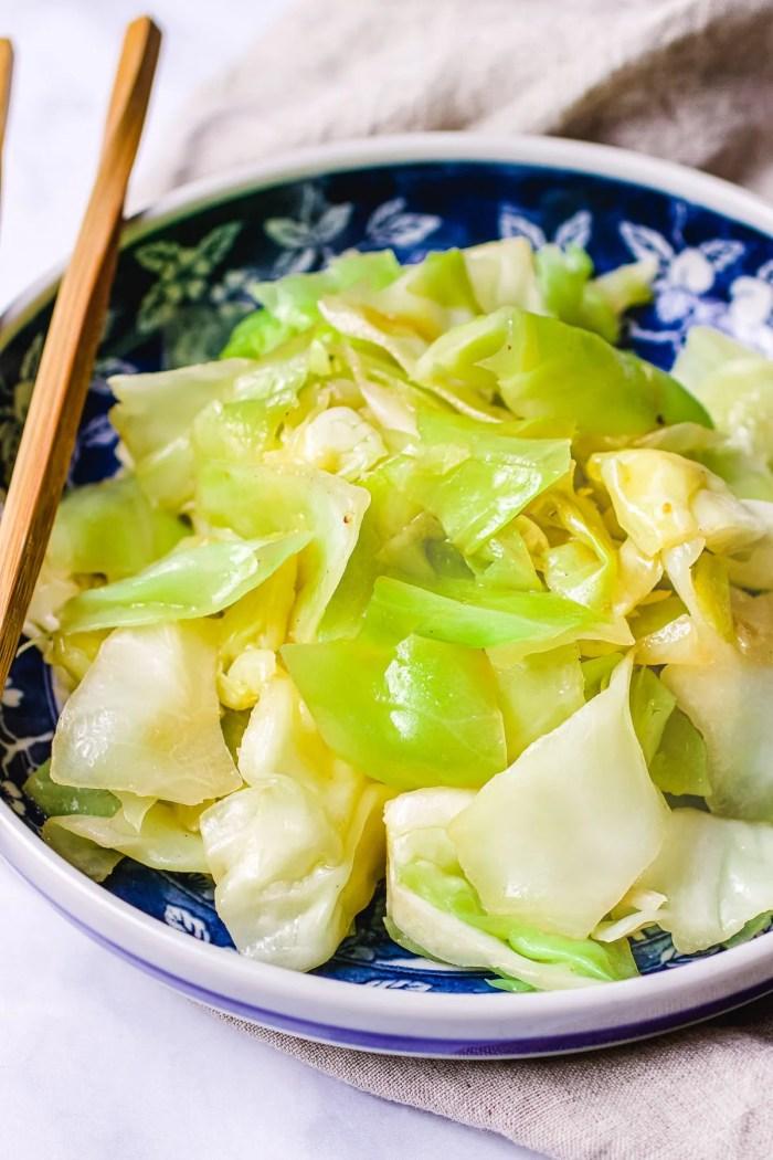 Sautéed Cabbage recipe Asain-style is gluten-free, keto, and Paleo from I Heart Umami.