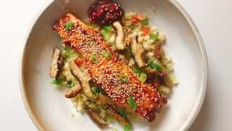 Gochujang glazed salmon meal