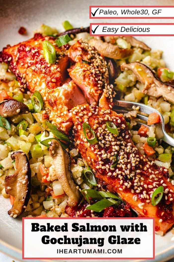 Asian Salmon with Paleo Gochujang Glaze Baked I Heart Umami
